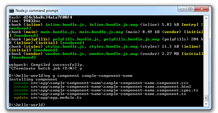 Angular CLI create component